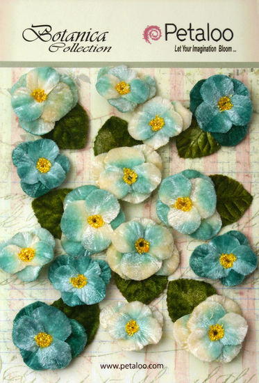 Petaloo Velvet Pansies Teal