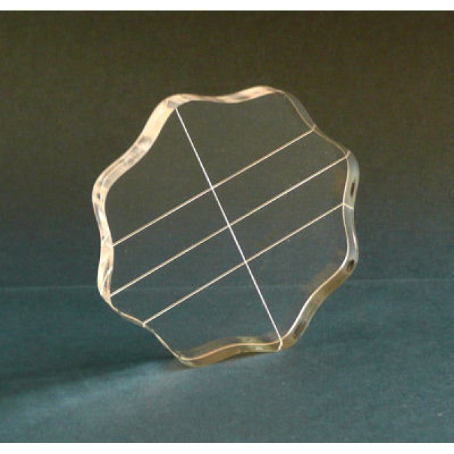 Acrylic Block 3,5 inch round with Finger Grips and Alignment Grid