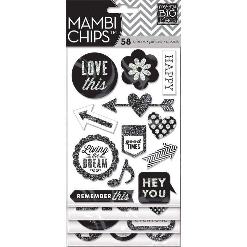 Mambi Chipboard Glitter Value Pack Hey You