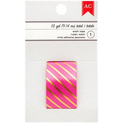 AC Washi Tape Pink/Gold stripes