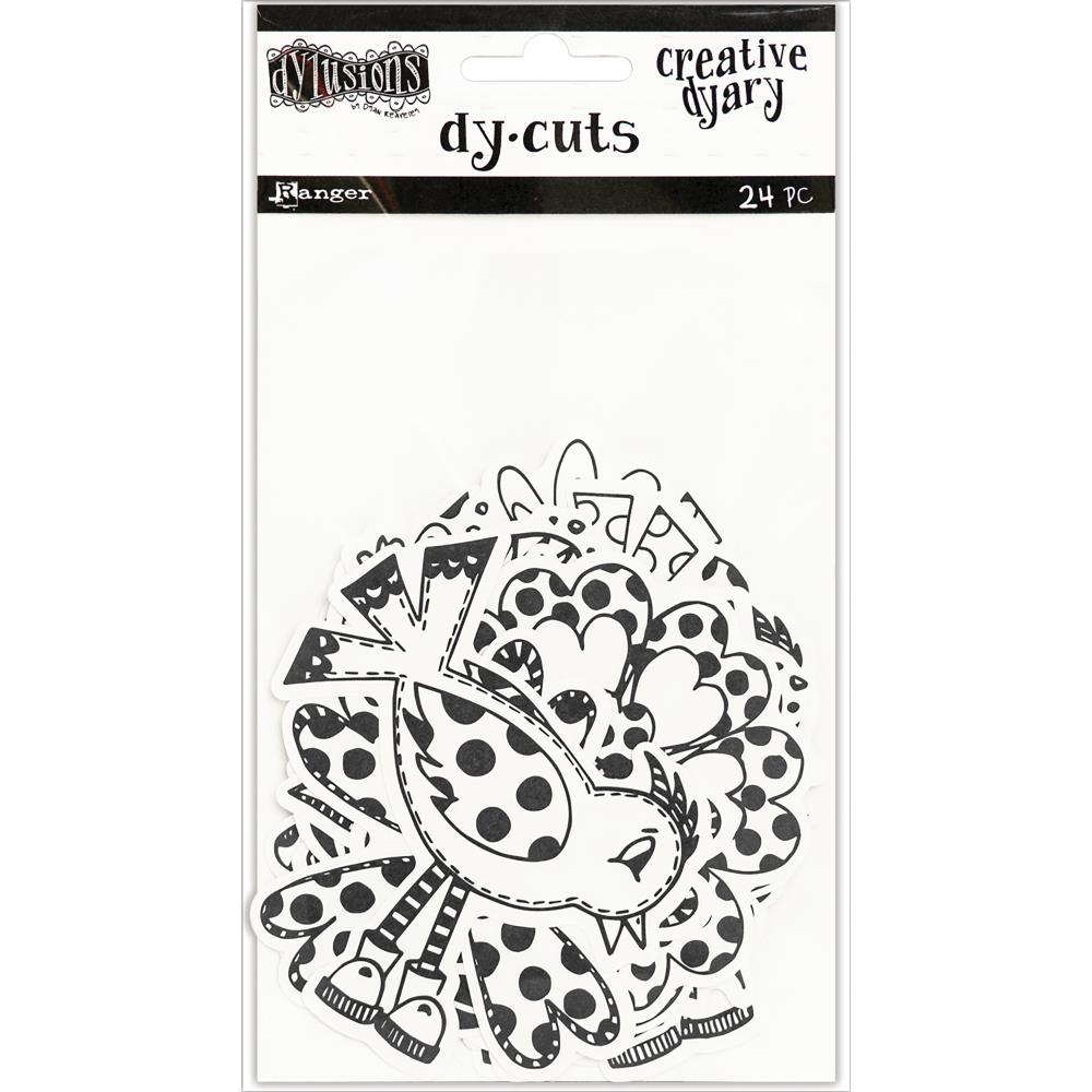Dylusions Creative Dyary Diecuts Black and White Birds&Flowers
