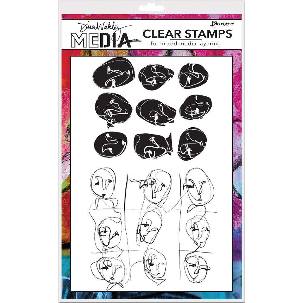 Ranger Dina Wakley Clear Stamps Funky Faces