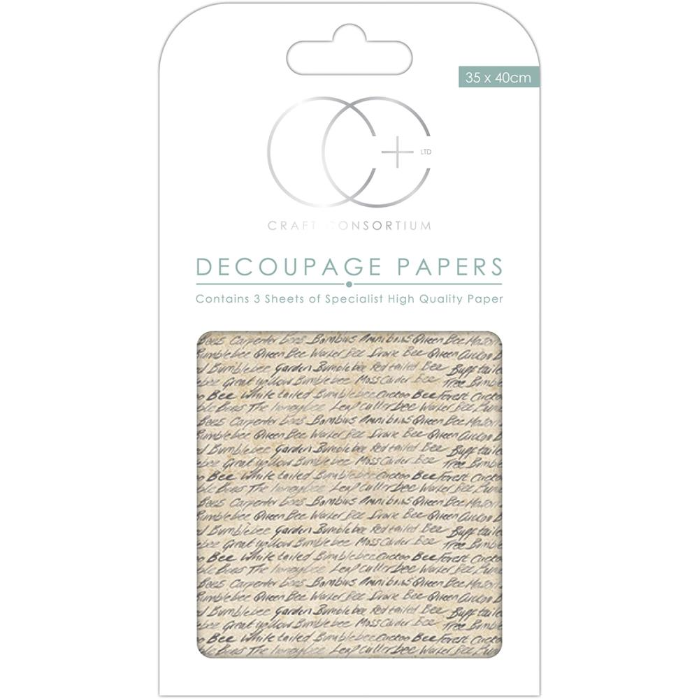 CC Decoupage Papers Bee Script