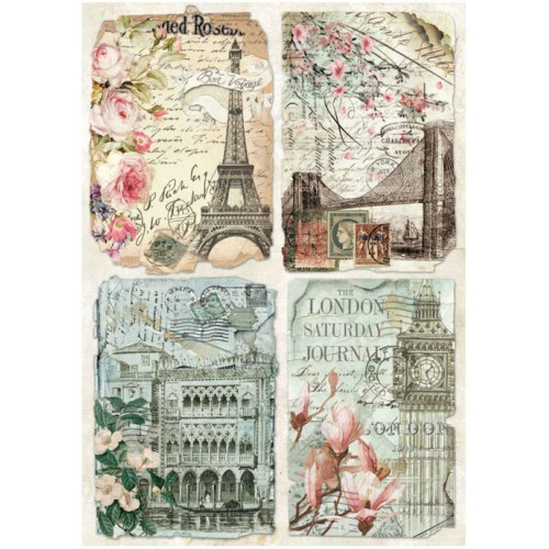 Stamperia Rice Paper A4 Postcards from Europe