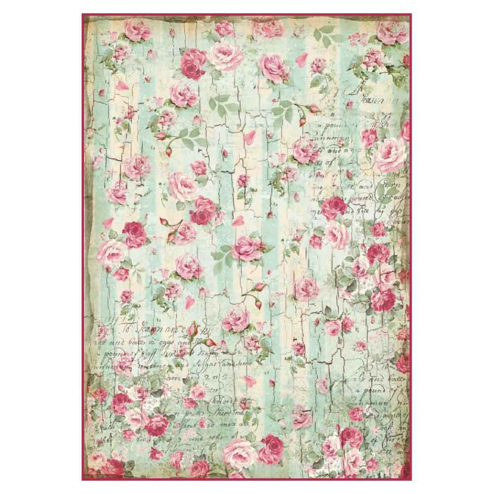 Stamperia Rice Paper A4 Distressed wood roses
