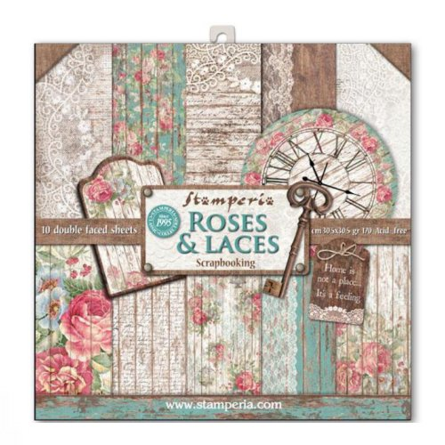 Stamperia Paperpad Roses & Laces 12 inch