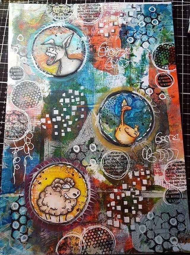 25 augustus Mixed Media Play Date Gelliplate, Coins, Doodle en Aquarel.