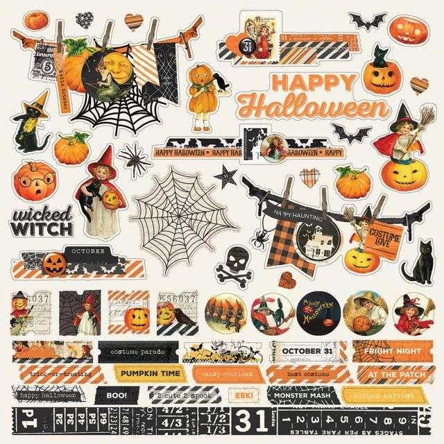 SS Simple Vintage Halloween Stickers