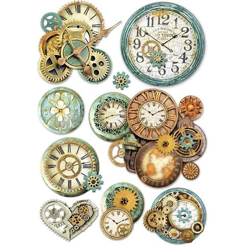 Stamperia Rice Paper A4 Gearwheels and Clock