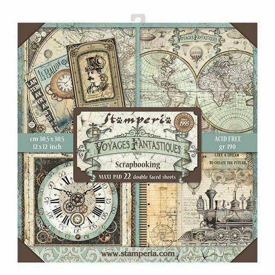 Stamperia Maxi Paperpad Voyages Fantastiques 12 inch