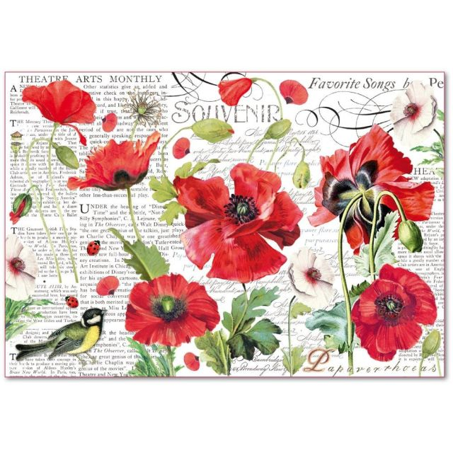 Stamperia Rice Paper 48x33 cm Botanic Poppies