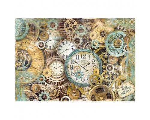 Stamperia Rice Paper 48x33 cm Gearwheels and Clocks