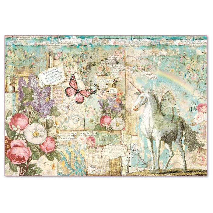Stamperia Rice Paper 48x33 cm Wonderland Unicorn