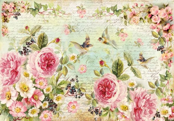 Stamperia Rice Paper 48x33 cm English Roses