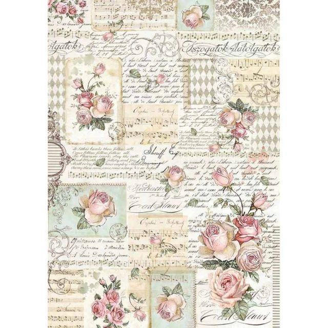 Stamperia Rice Paper A3 Roses & Manuscripts