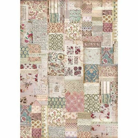 Stamperia Rice Paper A3 Botanic Patchwork