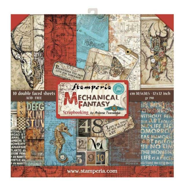 Stamperia Paperpad Mechanical Fantasy 12 inch