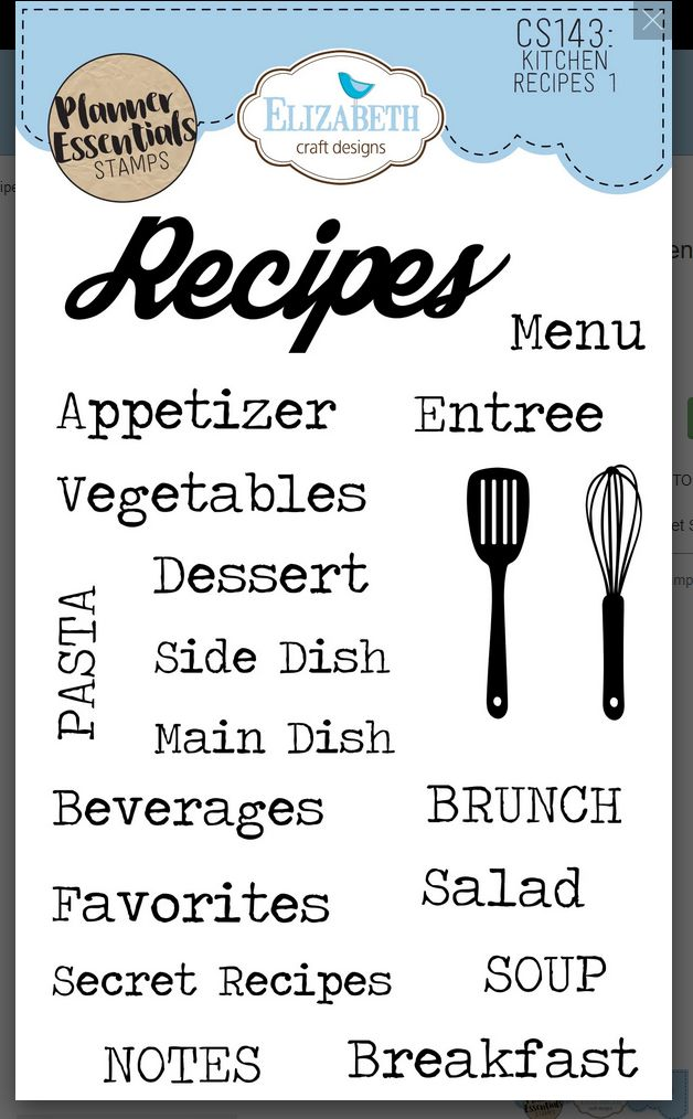 ECD Clear Stamp Kitchen Recipes 1