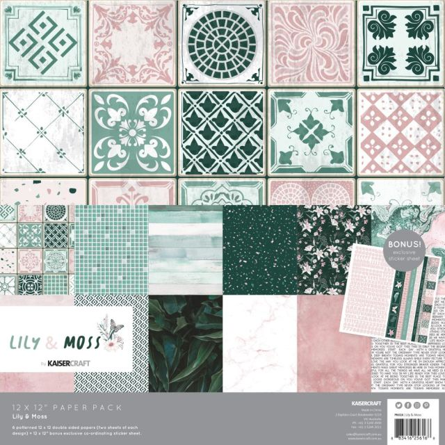 Kaisercraft Paperpack Lily and Moss 12 inch.
