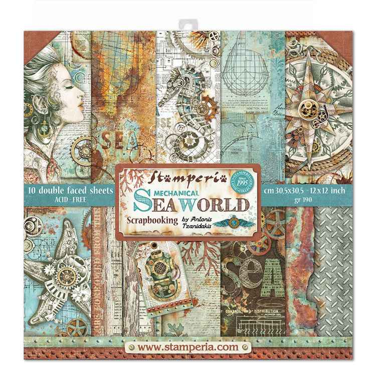 Stamperia Paperpad Mechanical Sea World 12 inch