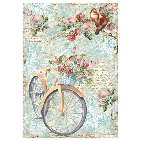 Stamperia Rice Paper A4 Bike and Branch with Flowers