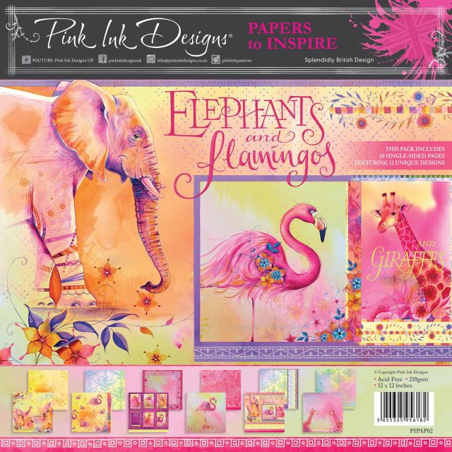Pink Ink Designs Paperpad Elephants and Flamingo's 12 inch