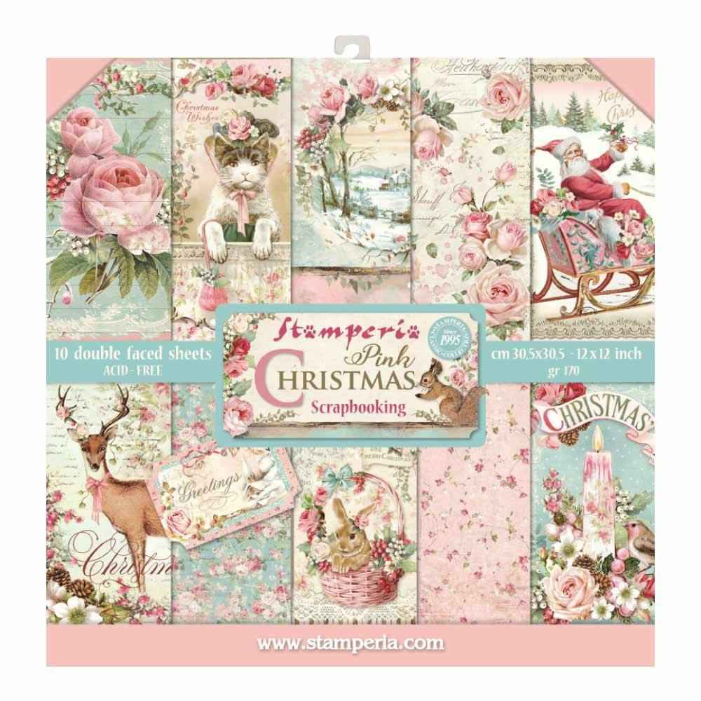 Stamperia Paperpad Pink Christmas 12 inch