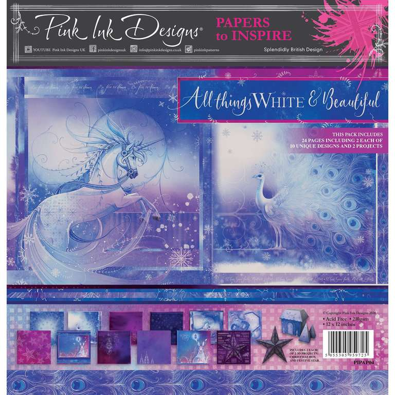Pink Ink Designs Paperpad All things White and Beautiful 12 inch