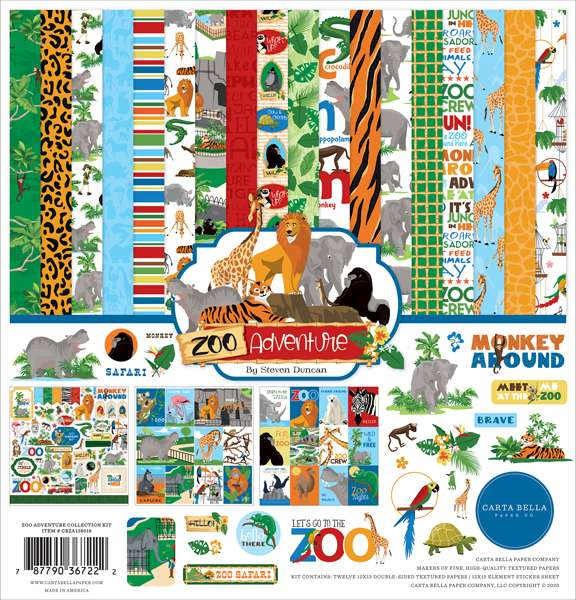 Carta Bella Zoo Adventure Collection Kit 12 inch